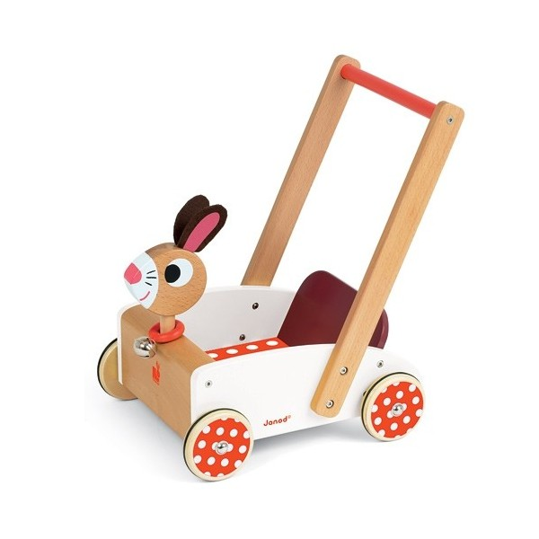 chariot pousser janod crazy rabbit ekobutiks l ma boutique cologique jouets en bois l. Black Bedroom Furniture Sets. Home Design Ideas