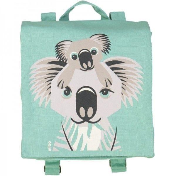 cartable maternelle coton bio vert d 39 eau koala coq en p te ekobutiks l ma boutique. Black Bedroom Furniture Sets. Home Design Ideas